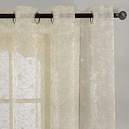 Top Finel Window Treatments Embroidered Polka Dot Sheers Curtains Panels 54 X 96 Inch Length Set