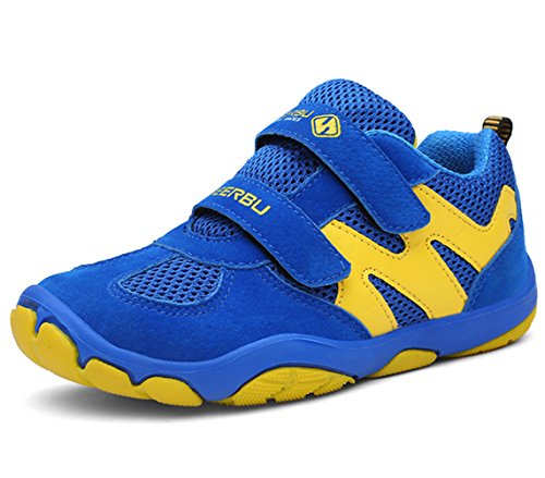 DADAWEN Kid's Breathable Outdoor Hiking Sneakers Strap Athletic Running Shoes Blue/Yellow US Size 13 M Little Kid by DADAWEN (Image #5)