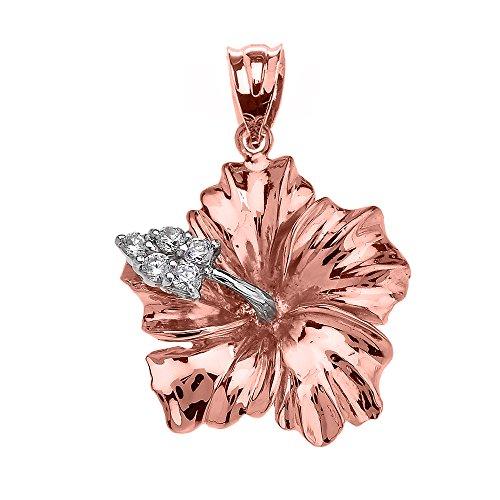Collier Femme Pendentif 14 Ct Or Rose Caraïbes Hibiscus (Malvaceae) Diamant (Livré avec une 45cm Chaîne)