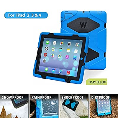 iPad Cases,iPad 2 Case,iPad 3 Case,iPad 4 Case,TRAVELLOR[Heavy Duty] iPad Case,Three Layer Armor Defender And Full Body Protective Case Cover With Kickstand And Screen Protector for iPad 2/3/4