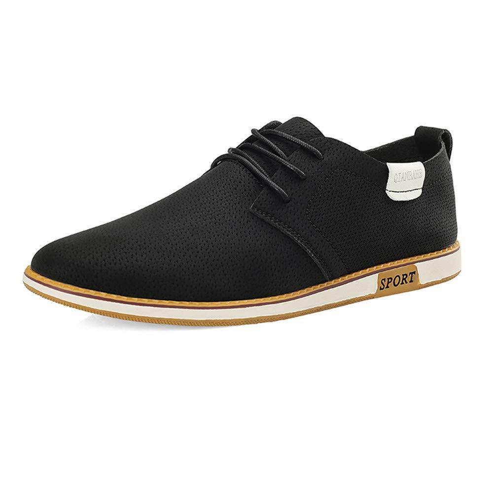 Jiuyue schuhe, Sommer 2018 Herren Business Oxford Casual Atmungsaktive Runde Kopf Britischen Stil Formale Schuhe (Farbe : Orange, Größe : 44 EU) Schwarz