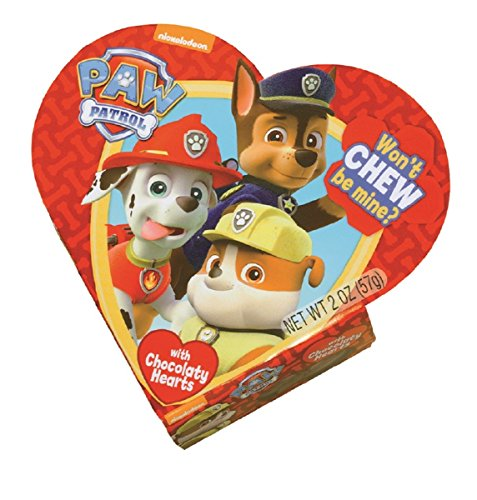 Nickelodeon PAW Patrol Valentines Day Heart Gift Box with Chocolate Heart Candy, 2 oz (Red)