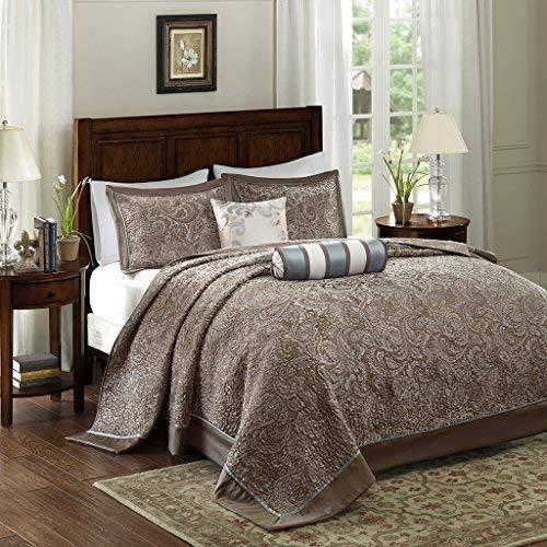 Madison Park Aubrey 5 Piece Reversible Jacquard Bedspread Set Blue King (Renewed)