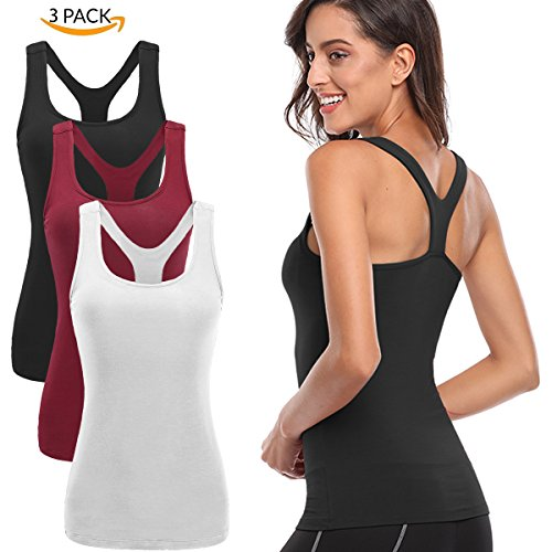 TELALEO Tank Tops for Women, Womens V-Shape Yoga Workouts Running Activewear Or Base Layer Tank Tops Clothes 3 Pack-White/Black/Red-L