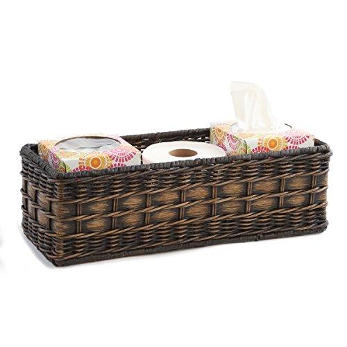 Toilet Back - The Basket Lady Wicker Toilet Tank Basket Large Antique Walnut Brown
