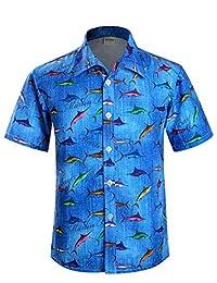 APTRO Men's Hawaiian Shirt Floral Short Sleeve Beach Shirt