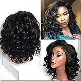 NiceToBuy Glueless Short Wavy Bob Haircut Front Lace Wig with Bangs Brazilian Virgin Human Hair Wigs for Women 14inch, #1b Natural Black Color