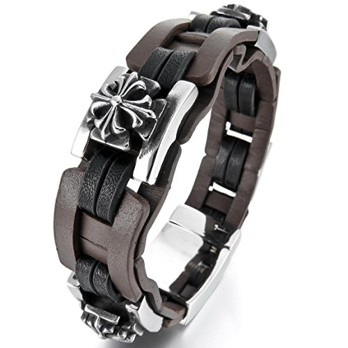 Medieval Style Costume Jewelry (INBLUE Men's Stainless Steel Genuine Leather Bracelet Bangle Silver Tone Brown Black Celtic Medieval Cross)