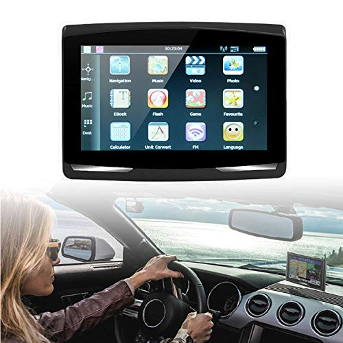 ROWEQPP 5 inch Car GPS Navigation Sat Nav 8G CPU800M Wince6.0+FM Transmitter+Multi-Languages Car Compass red