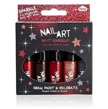 Amazon Nail Art Mini Pens Glam Glitter 5 Pk Beauty