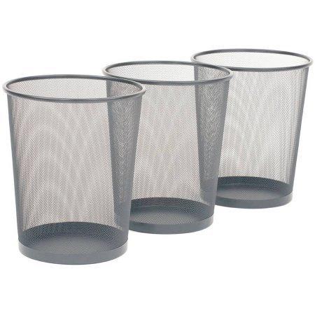 Seville Classics 3-Pack Mesh Wastebaskets, Silver, Metal