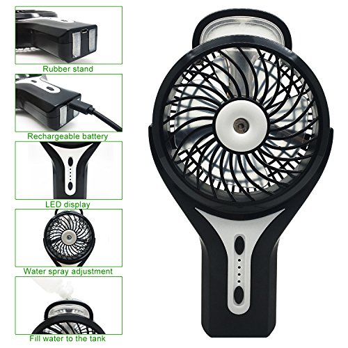 Mini Handheld Fan FlatLED Portable Water Misting Fan Personal Misting Fan  With Cooling Humidifier, USB Rechargeable Battery, ...