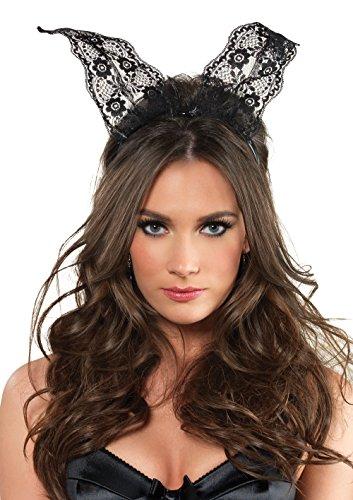 Leg Avenue Women's Scalloped Lace Bunny Ears, Black, One Size