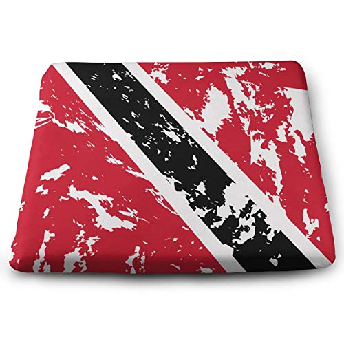 SKYISOK Memory Foam Seat Cushion Dirty Trinidad Tobago Flag Chair Pads Removable Cover Office/Vehicles/Home 15
