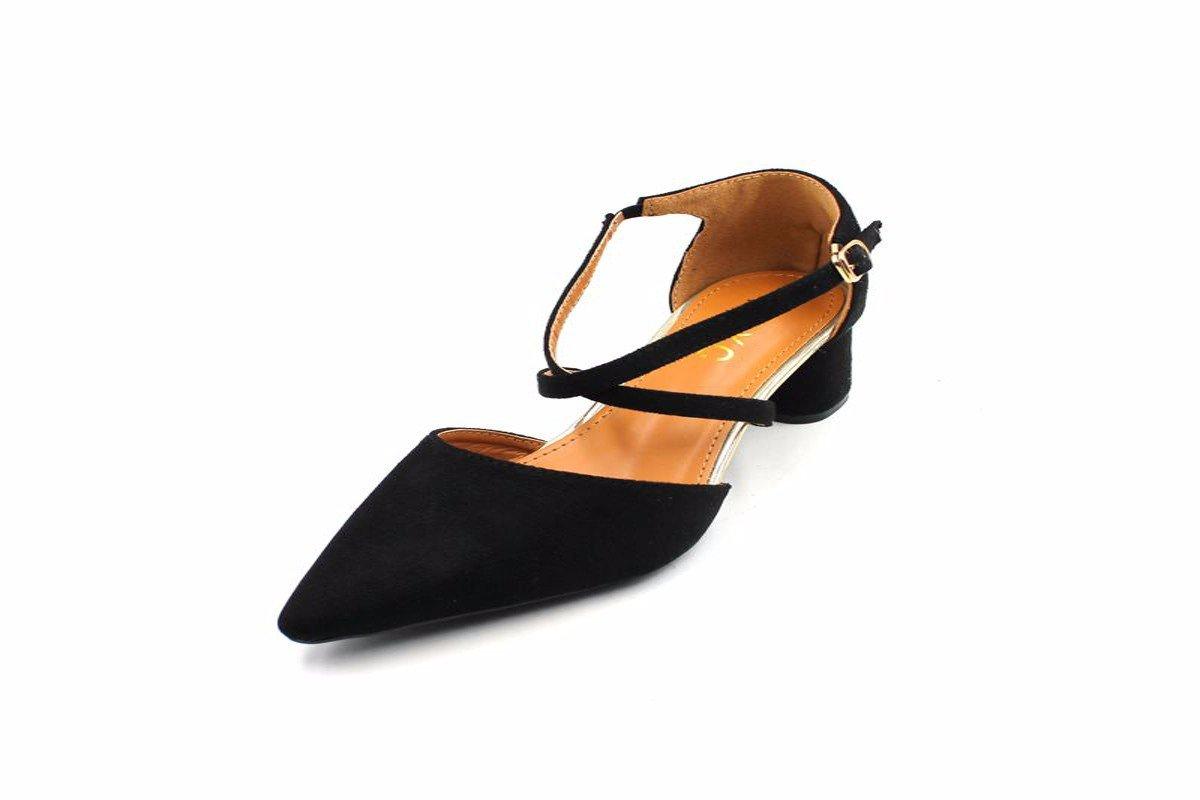 HBDLH Chaussures pour Femmes/Le Printemps Est Mince Côté Cuir Pleine Daim Cheville A Souligné Chaussures À Talons Hauts Black Seule Chaussure.