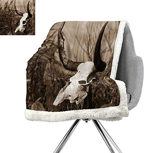 ScottDecor Western Lightweight Fluffy Flannel and Sherpa Blanket,Photo of a Bull Skull on a Stick Bushes Totem Native American Myth Art Print,Black and White,Warm Blanket W59xL31.5 Inch ()