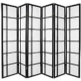 Oriental Furniture 6 ft. Tall Double Cross Shoji Screen - Black - 6 Panels