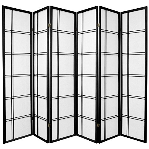 Oriental Furniture 6 ft. Tall Double Cross Shoji Screen - Black - 6 Panels by ORIENTAL FURNITURE