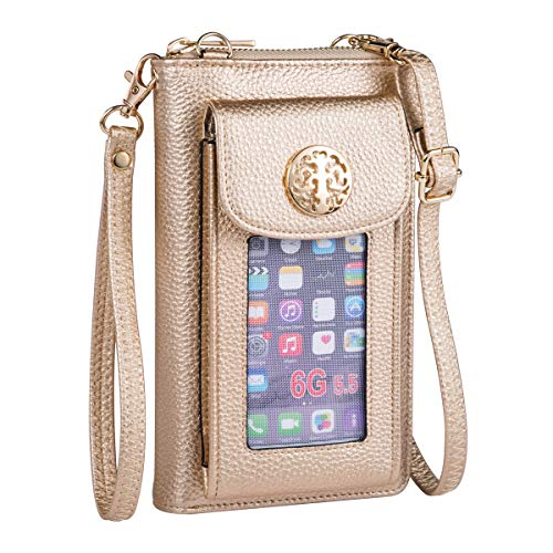 Heaye Women Wallet Wristlet Mini Crossbody with Outside Cell Phone Pocket Holder RFID