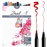 Dual Tip Brush Pen Marker Set - 12 Colors - Soft Flexible Brush Tip & Fineliner Tip - High Quality, Create Watercolor Effect - Best for Adult Coloring Books, Manga, Comic, Calligraphy - Dual Thickness (12 colors)
