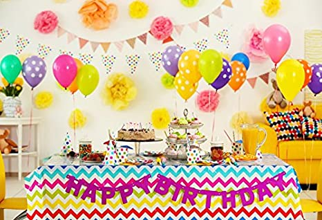 Leyiyi 8x6ft Photography Backdrop Kids Happy Birthday Background 1st B Day Party Paper Flower Banner Flag