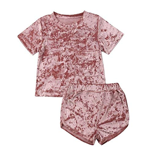 (Hstore 2 Pcs Fashion Baby Girls Boys Velvet Sweatshirt Sport Casual Clothes Outfits Set 0-4Y Pink)