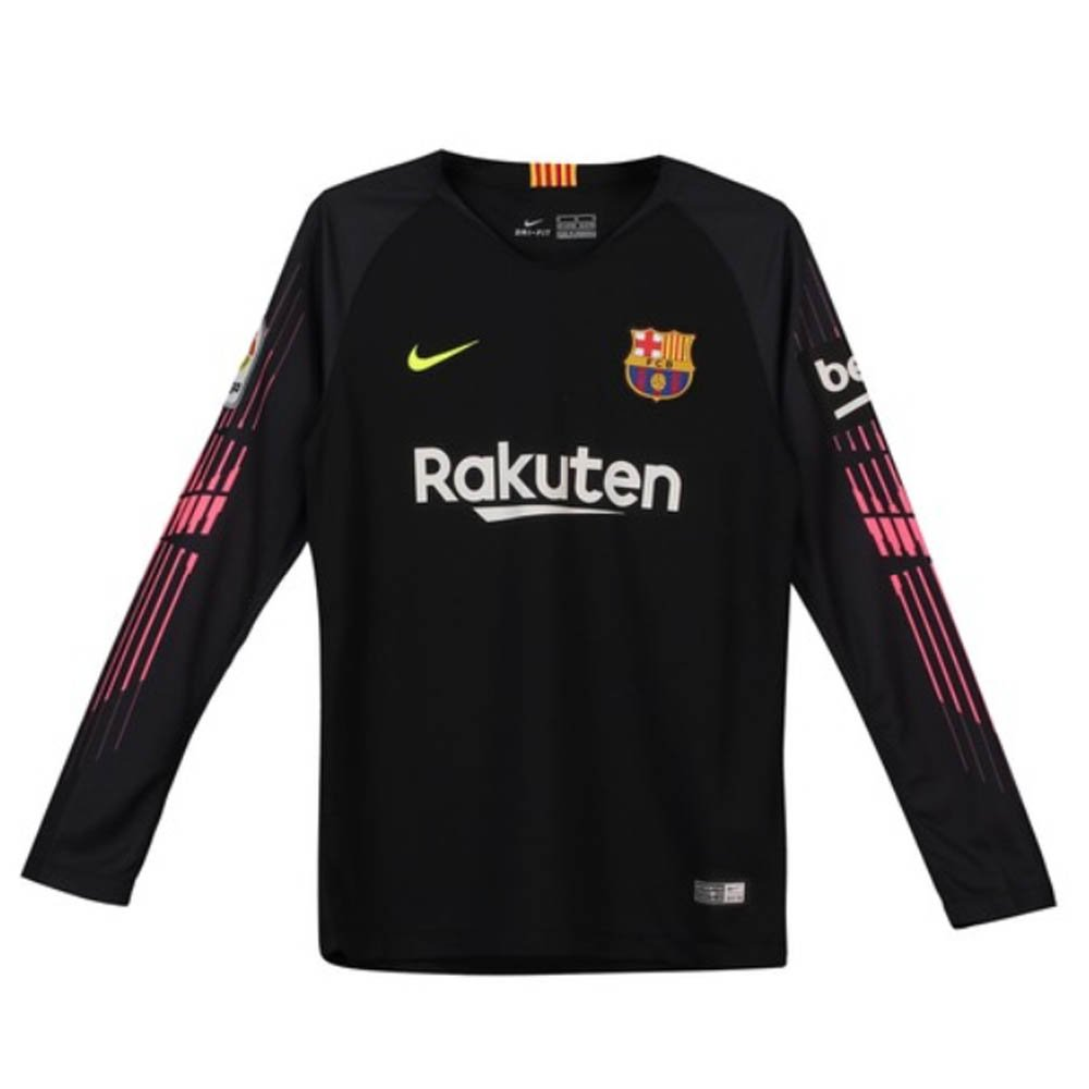 NIKE 2018-2019 Barcelona Home Goalkeeper Football Soccer T-Shirt Jersey (Black) - Kids