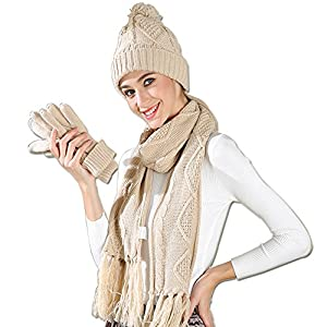Warm Scarf Glove Hat Beanie Set – Cable Knit Winter Gift Set Pom Cap Touch Screen Glove Long Scarf 3 PCS Set for Women
