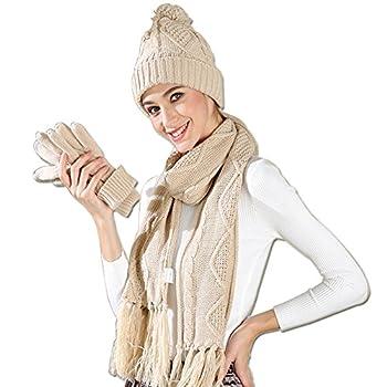 Hat Glove Scarf Set Girls, 3 in 1 Beanie Hat and Scarf Winter Set Knit Heat Winter Present Set for Girls Ladies