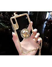 Cfrau Diamond Clear Case with Black Stylus for Samsung Galaxy A70,Luxury Dazzling Bling Glitter Soft Bumper Cover with Crystal Ring Kickstand for Samsung Galaxy A70,Gold