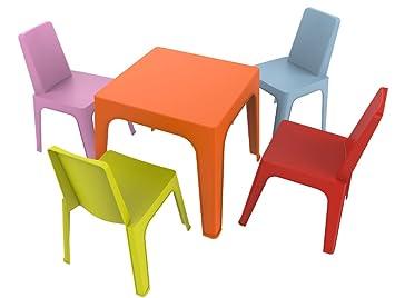 resol Julieta Set Infantil, 1 Mesa Naranja + 4 Sillas Roja/Rosa/Azul/Lima