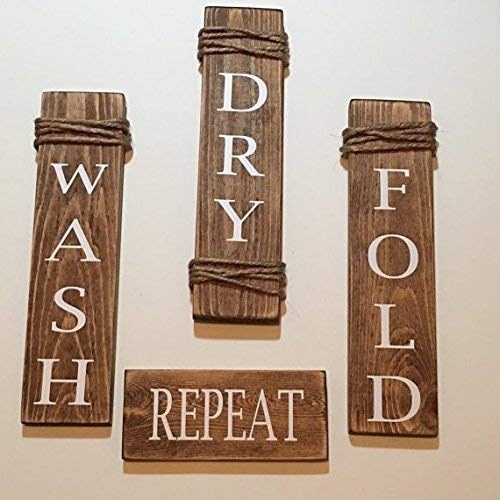 Fold Set - Laundry Room Wash Dry Fold Repeat Rustic Brown Wooden Sign Set