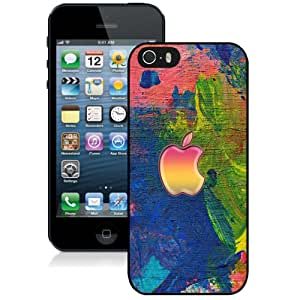 Fashionable And Unique Designed Cover Case For iPhone 5 5S With Apple Logo On Easel Paint Strokes_Black Phone Case