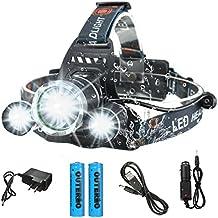[Patrocinado] OUTERDO LED Headlamp Headlight Hard Hat Running Ciclismo Pesca Caza Escalada linterna de camping con 4Modo de la luz ajustable Zoomable Linterna impermeable (Batería recargable + AC carga + Cargador de Coche)