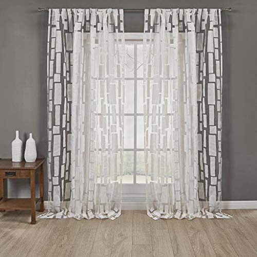 Home Maison - Jesika Lace Checkered Square Pole Top Window Curtains for Living Room & Bedroom - Assorted Colors - Set of 2 Panels (57 X 96 Inch - Off & White)
