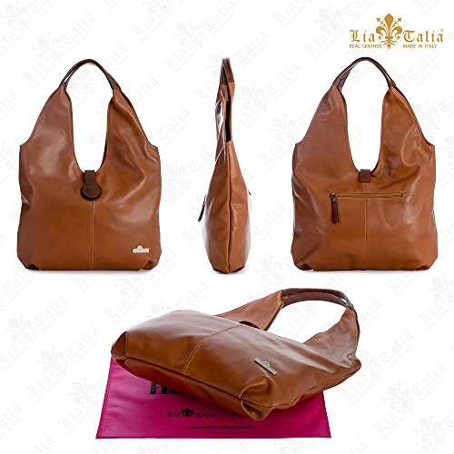Deep Large Zoe Shopper Bag Liatalia Boho Soft Hobo Leather Italian Trim Tote Shoulder Genuine Red Brown BxnwTq7p
