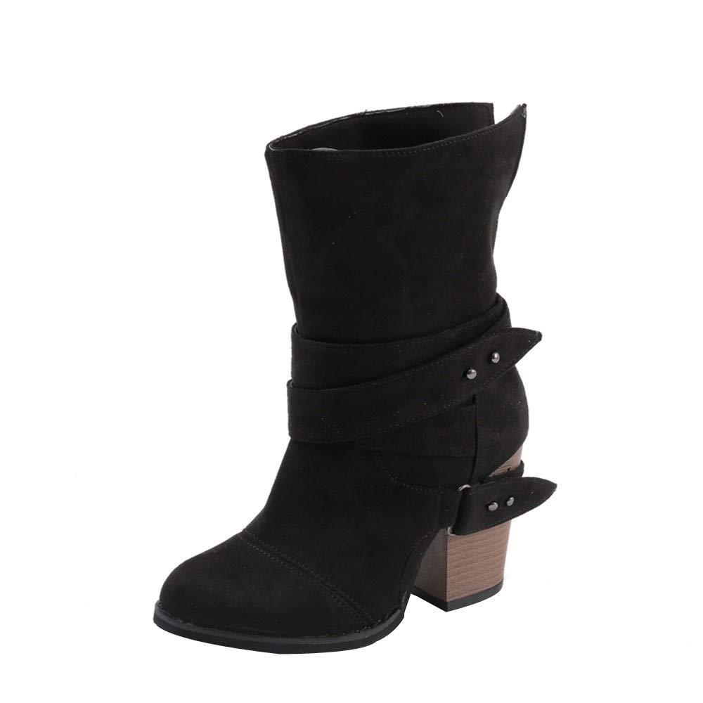 Shybuy Women Sweet Mid Calf Boot Stylish Chunky Block High Heel PU Leather Booties Casual Slip-on Boots