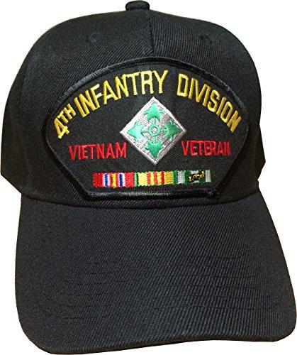 U.S. Army 4th Infantry Division Vietnam Veteran Cap w/ Free U.S. Flag Lapel (Nam Pin)