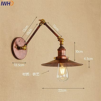 Copper Industrial Edison Wall Sconce Lampen Loft Style Retro Vintage Wall  Lamp Swing Long Arm Wall