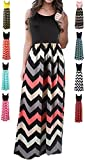 HanDanGe Women's Summer Chevron Striped Print Dress Tank Long Maxi Dresses For Women Black-B-M