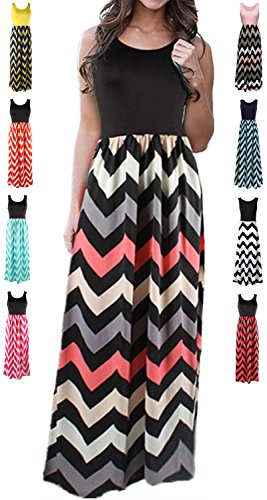 - HanDanGe Women's Summer Chevron Striped Print Dress Tank Long Maxi Dresses For Women Black-B-L