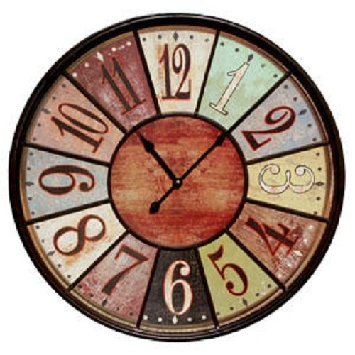 jumbo tuscan wooden number wall clock by vip