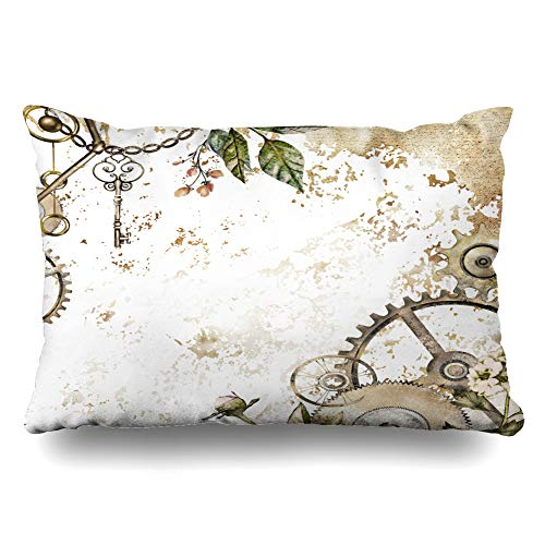 Ahawoso Throw Pillow Cover Standard 20x26 Gold Watercolor Steam Punk Clockwork Leaves Glod Scrapes Vintage Clock Key Botanical Chain Collage Zippered Cushion Case Home Decor Pillowcase - Gold Leaf Collage