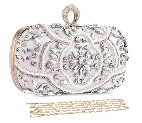 UBORSE Crystal Beaded Clutch Evening Bags for Women Formal Bridal Wedding Clutch Purse Prom Cocktail Party Handbags
