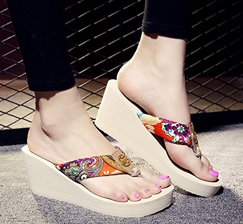 Beach Sfnld Wedge Sandals Bohemian Womens Platform Beige Flop Summer Trendy Flip Thong 6x6wrzq
