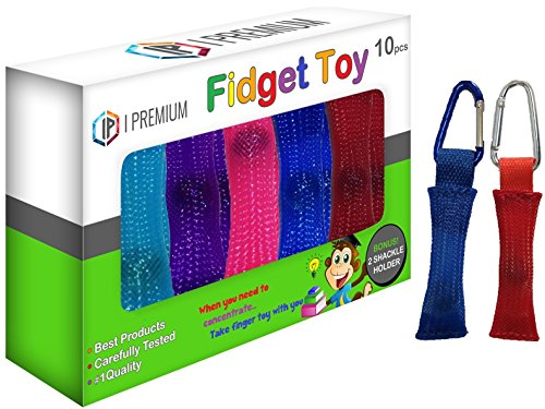 I Premium Fidget Toy in BIG 10 Pack Powerfully Relieves Stress & Anxiety, Squeeze-Slide-Bend-Fold, Helps Concentration, Great For ADHD, For Both Kids & Adults, Includes FREE Bonus 2 Shackle Holder