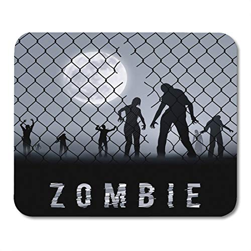 Emvency Mouse Pads Cell Zombie Walking at Night Silhouettes for Halloween Dead Arrest Mouse pad 9.5