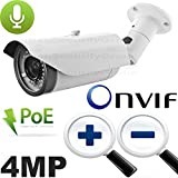 USG Business Grade 4MP (2592x1520) Ultra HD IP Network Bullet Security Camera : 2.8-12mm Vari-Focal Lens : Power Over Ethernet : ONVIF : Vandal + Weatherproof Rated : 42x IR LEDs : Free Phone App