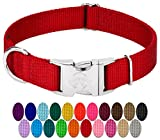 Country Brook Petz | Premium Nylon Dog Collar with Metal Buckle (Large, 1'' Wide, Red)