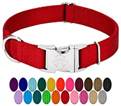 Country Brook Petz' Premium Nylon Dog Collars are a beautiful, safe, comfortable collar made right here in the U.S.A. Custom made using strong, aluminum side release buckles that feature a brilliant mirror finish. In addition, these collars a...